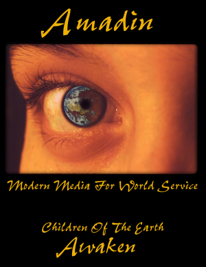 Amadin.biz Logo of extreme close up shot of the eye of a Native woman looking at the Earth from space which is seen refelected in her eye.